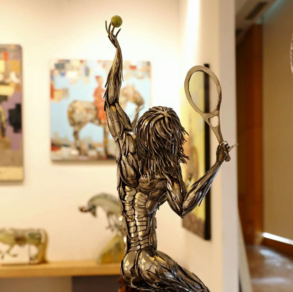 Tennis, anyone? Metal sculpture by Eric Shupe.